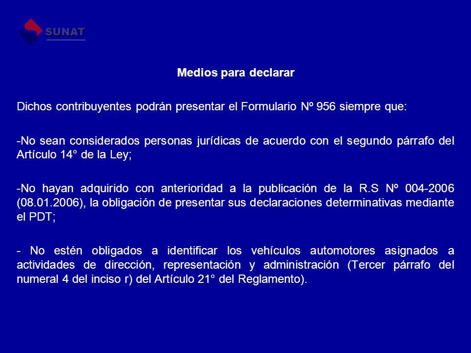 Medios para declarar Dichos contribuyentes podrán presentar el Formulario Nº 956 siempre que: -No sean considerados personas jurídicas de acuerdo con
