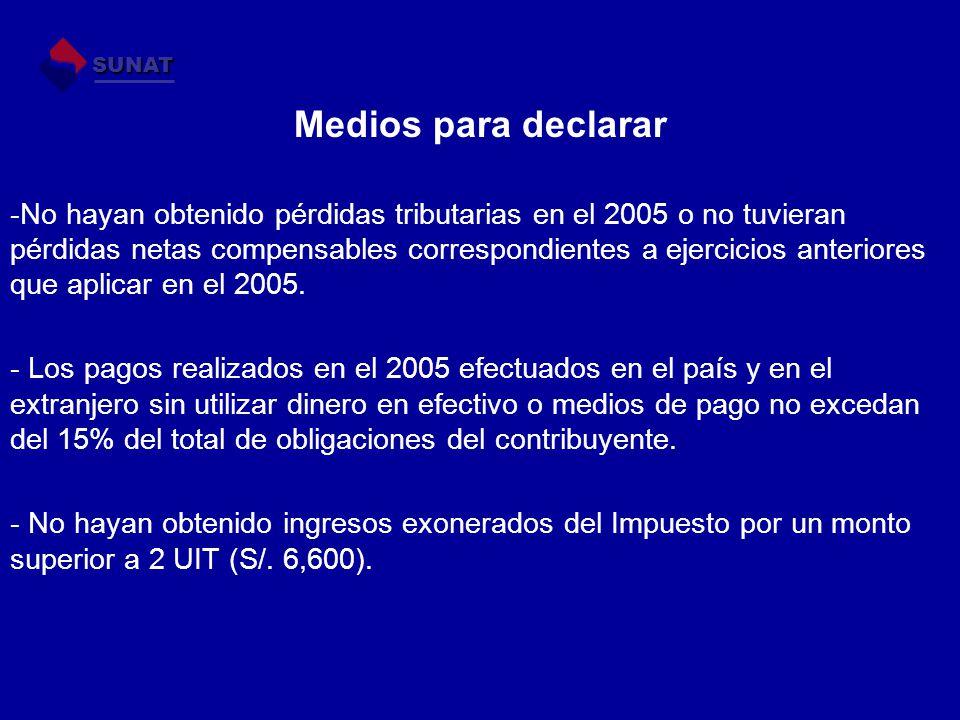 Medios para declarar -No hayan obtenido pérdidas tributarias en el 2005 o no tuvieran pérdidas netas compensables correspondientes a ejercicios anteriores que aplicar en el 2005.