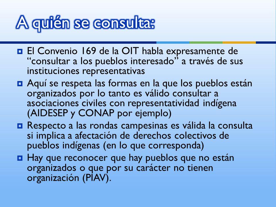El Convenio 169 de la OIT habla expresamente de consultar a los pueblos interesado a través de sus instituciones representativas Aquí se respeta las f