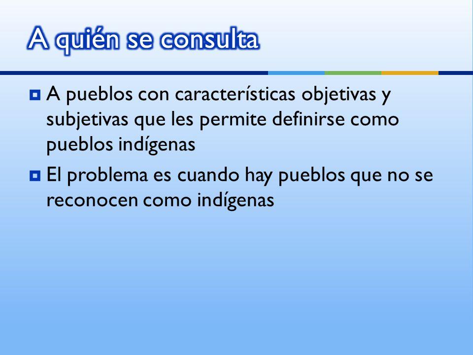 A pueblos con características objetivas y subjetivas que les permite definirse como pueblos indígenas El problema es cuando hay pueblos que no se reconocen como indígenas