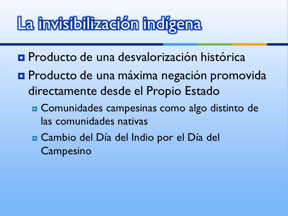 Producto de una desvalorización histórica Producto de una máxima negación promovida directamente desde el Propio Estado Comunidades campesinas como algo distinto de las comunidades nativas Cambio del Día del Indio por el Día del Campesino