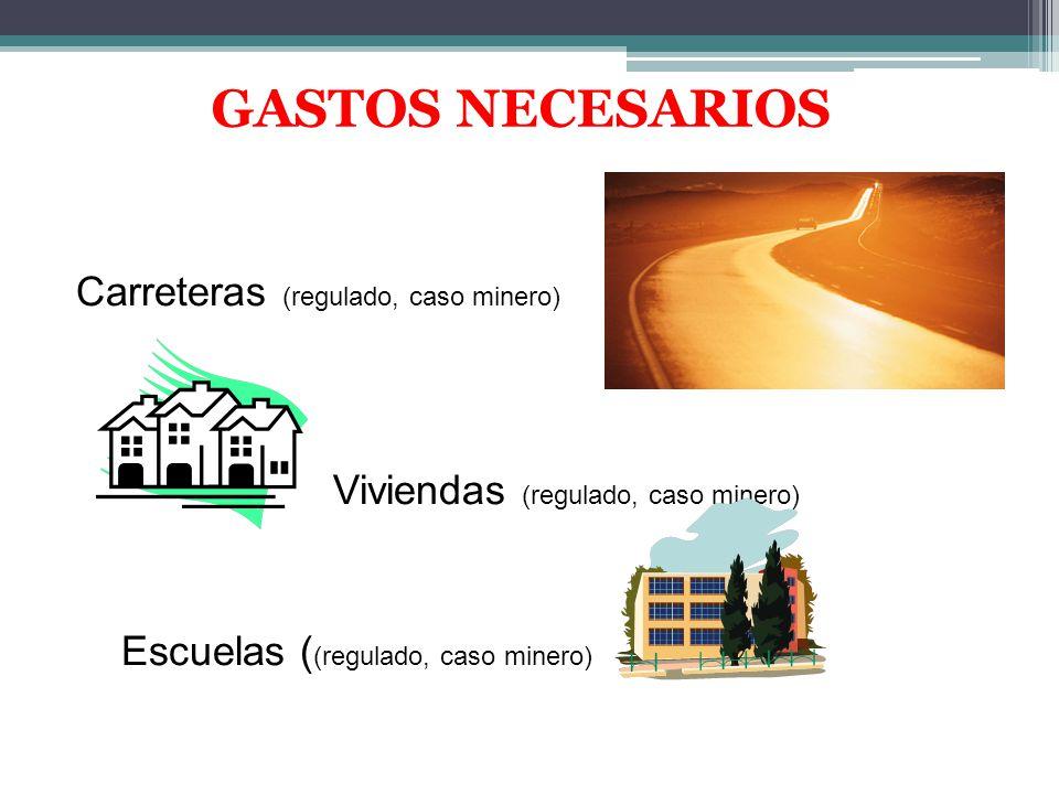 GASTOS NECESARIOS Carreteras (regulado, caso minero) Viviendas (regulado, caso minero) Escuelas ( (regulado, caso minero)