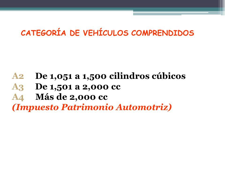 CATEGORÍA DE VEHÍCULOS COMPRENDIDOS A2 De 1,051 a 1,500 cilindros cúbicos A3 De 1,501 a 2,000 cc A4 Más de 2,000 cc (Impuesto Patrimonio Automotriz)