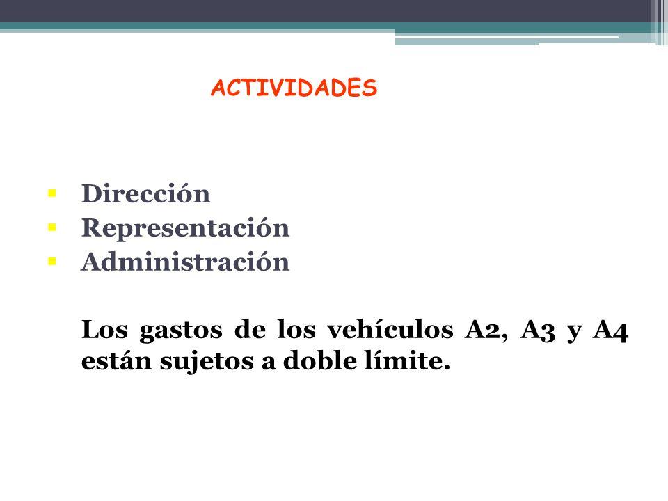 ACTIVIDADES Dirección Representación Administración Los gastos de los vehículos A2, A3 y A4 están sujetos a doble límite.