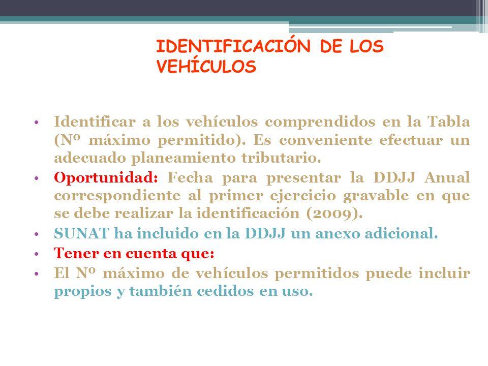 IDENTIFICACIÓN DE LOS VEHÍCULOS Identificar a los vehículos comprendidos en la Tabla (Nº máximo permitido). Es conveniente efectuar un adecuado planea