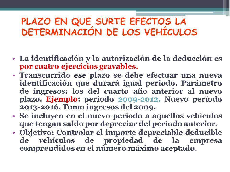 PLAZO EN QUE SURTE EFECTOS LA DETERMINACIÓN DE LOS VEHÍCULOS La identificación y la autorización de la deducción es por cuatro ejercicios gravables. T