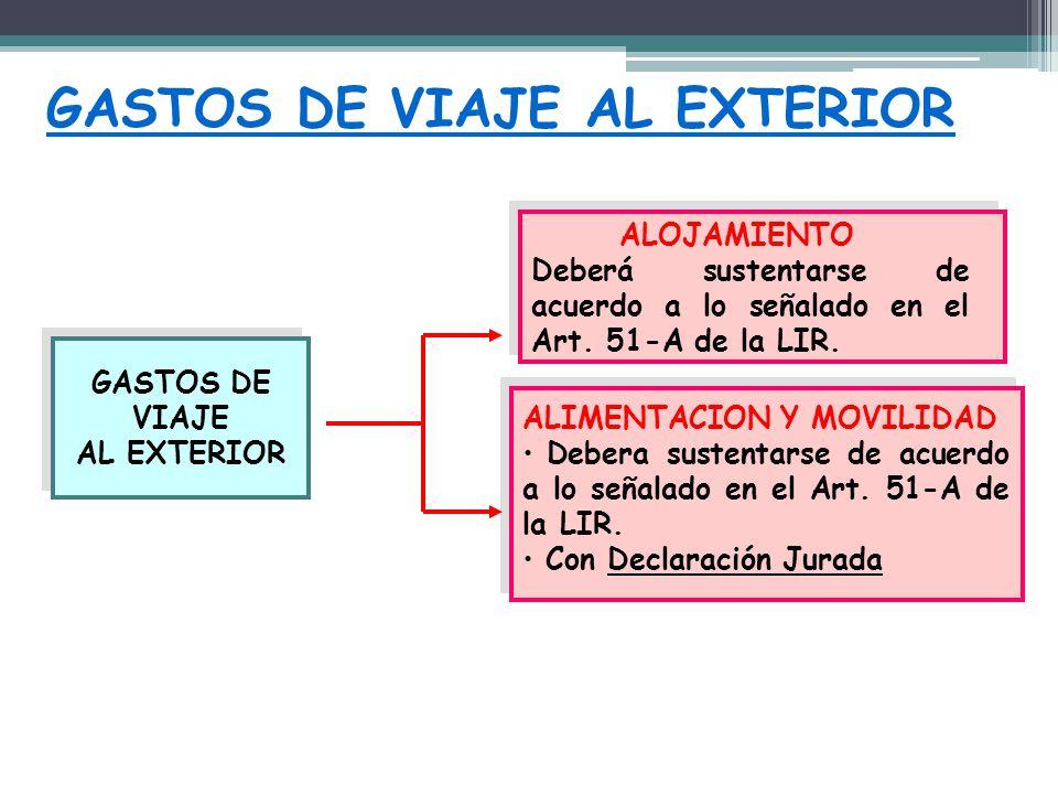 GASTOS DE VIAJE AL EXTERIOR GASTOS DE VIAJE AL EXTERIOR GASTOS DE VIAJE AL EXTERIOR ALOJAMIENTO Deberá sustentarse de acuerdo a lo señalado en el Art.