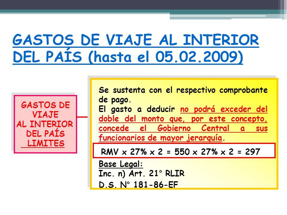 GASTOS DE VIAJE AL INTERIOR DEL PAÍS (hasta el 05.02.2009) GASTOS DE VIAJE AL INTERIOR DEL PAÍS LIMITES GASTOS DE VIAJE AL INTERIOR DEL PAÍS LIMITES S