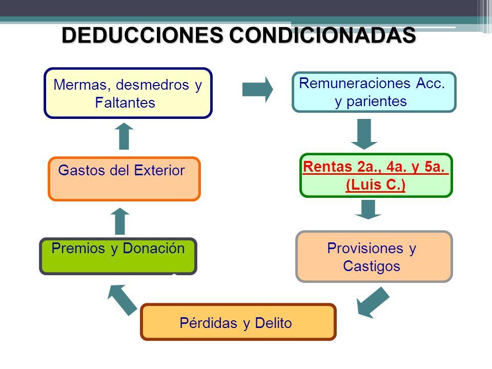 Mermas, desmedros y Faltantes Remuneraciones Acc. y parientes Rentas 2a., 4a. y 5a. (Luis C.) Provisiones y Castigos Pérdidas y Delito Premios y Donac