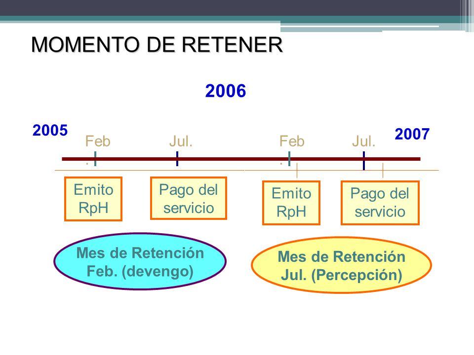 MOMENTO DE RETENER 2005 2007 Emito RpH Pago del servicio Emito RpH Pago del servicio Feb. Jul.Feb. Jul. 2006 Mes de Retención Feb. (devengo) Mes de Re