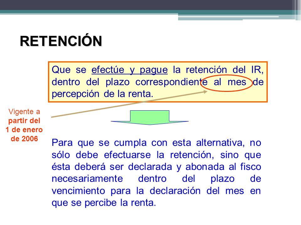 RETENCIÓN Que se efectúe y pague la retención del IR, dentro del plazo correspondiente al mes de percepción de la renta. Para que se cumpla con esta a
