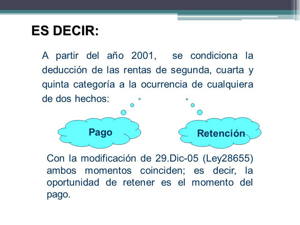A partir del año 2001, se condiciona la deducción de las rentas de segunda, cuarta y quinta categoría a la ocurrencia de cualquiera de dos hechos: ES