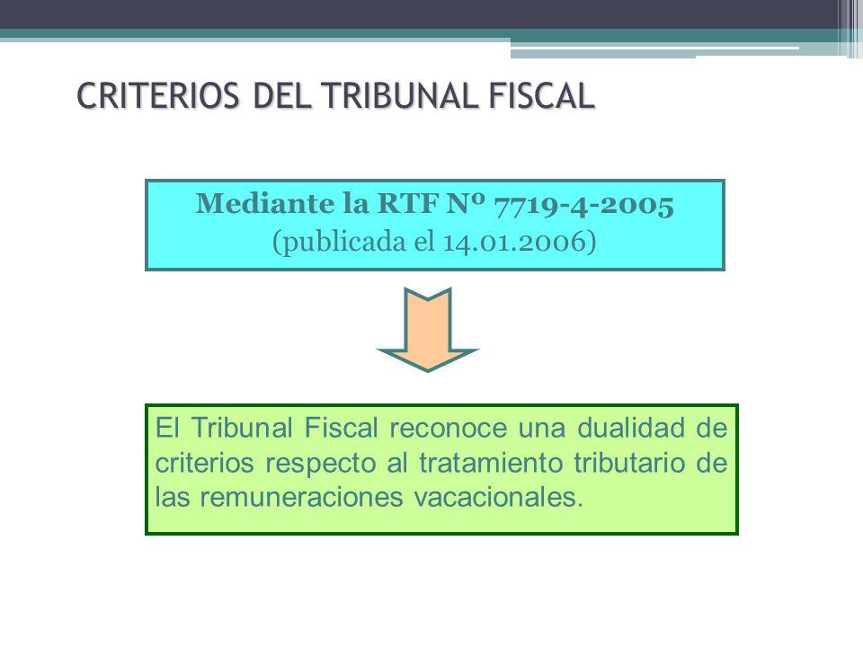 CRITERIOS DEL TRIBUNAL FISCAL Mediante la RTF Nº 7719-4-2005 (publicada el 14.01.2006) El Tribunal Fiscal reconoce una dualidad de criterios respecto