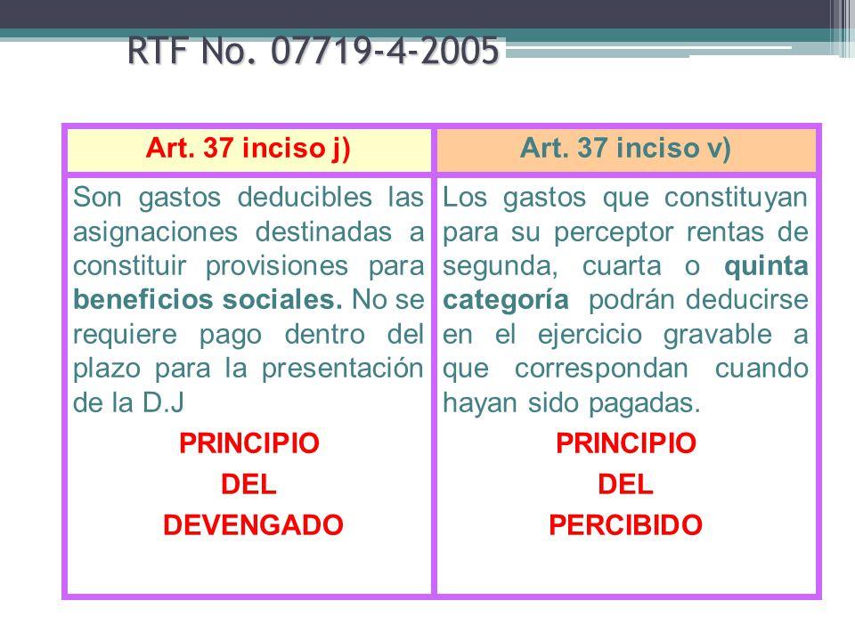 RTF No. 07719-4-2005 Los gastos que constituyan para su perceptor rentas de segunda, cuarta o quinta categoría podrán deducirse en el ejercicio gravab