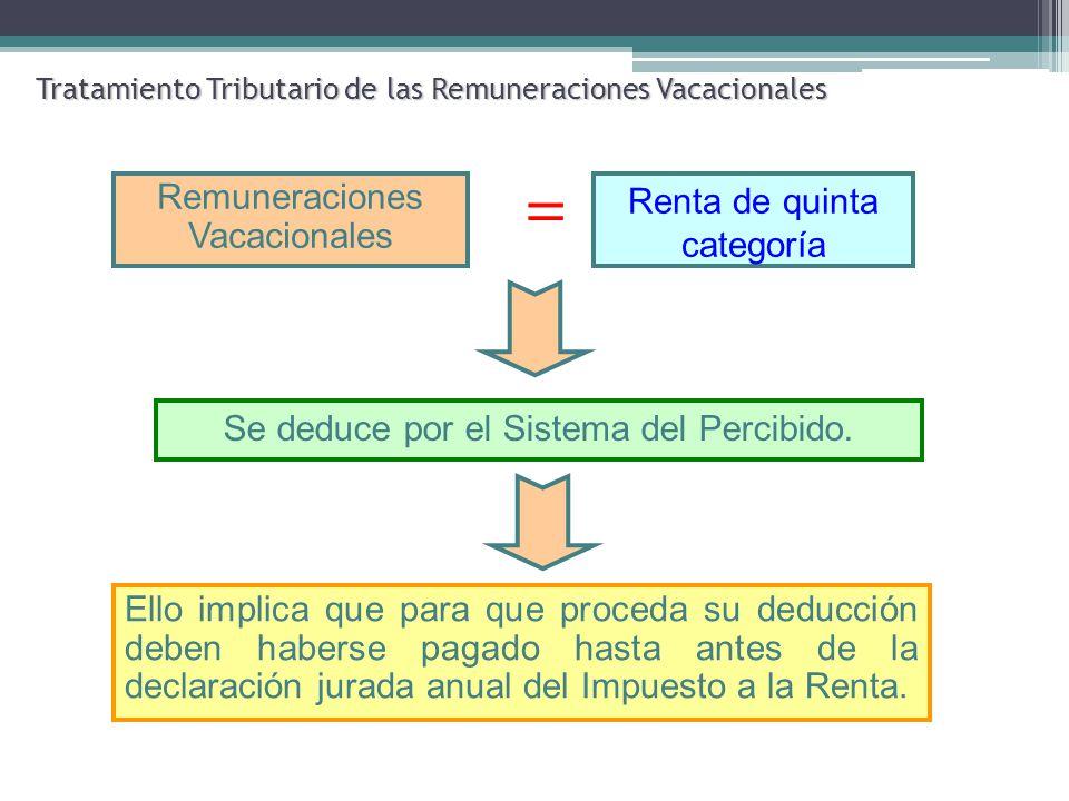 Tratamiento Tributario de las Remuneraciones Vacacionales = Se deduce por el Sistema del Percibido. Remuneraciones Vacacionales Renta de quinta catego