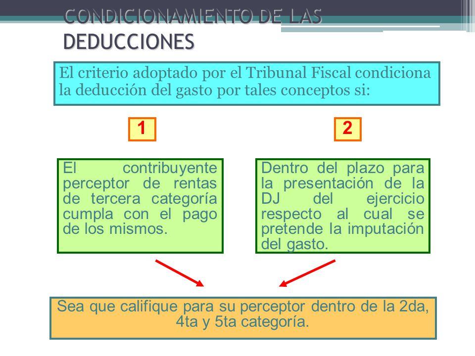 CONDICIONAMIENTO DE LAS DEDUCCIONES El criterio adoptado por el Tribunal Fiscal condiciona la deducción del gasto por tales conceptos si: El contribuy