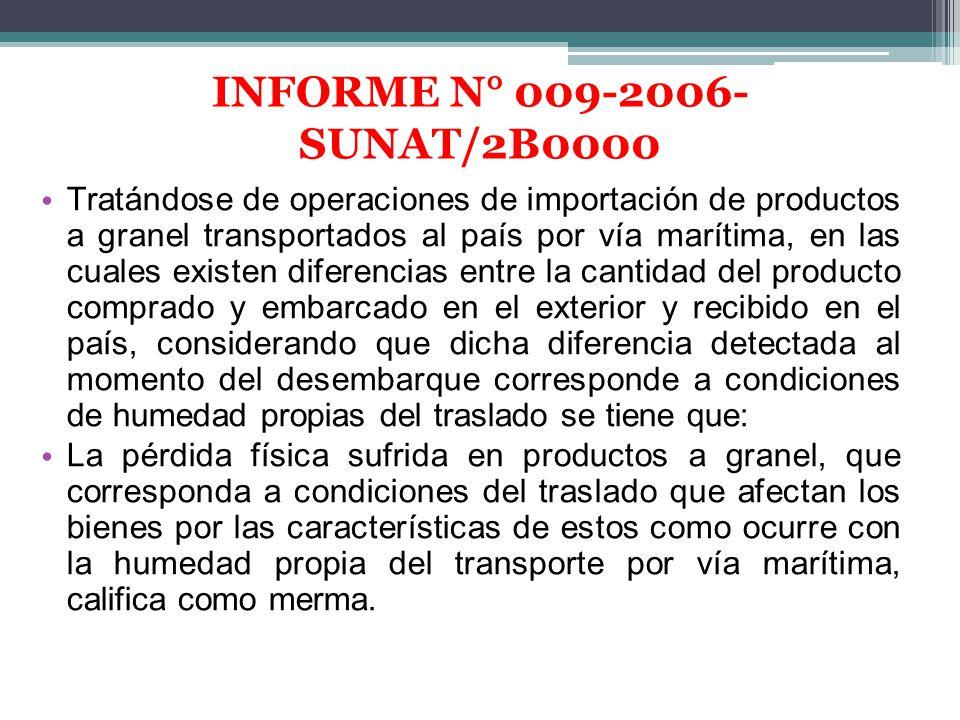 Tratándose de operaciones de importación de productos a granel transportados al país por vía marítima, en las cuales existen diferencias entre la cant