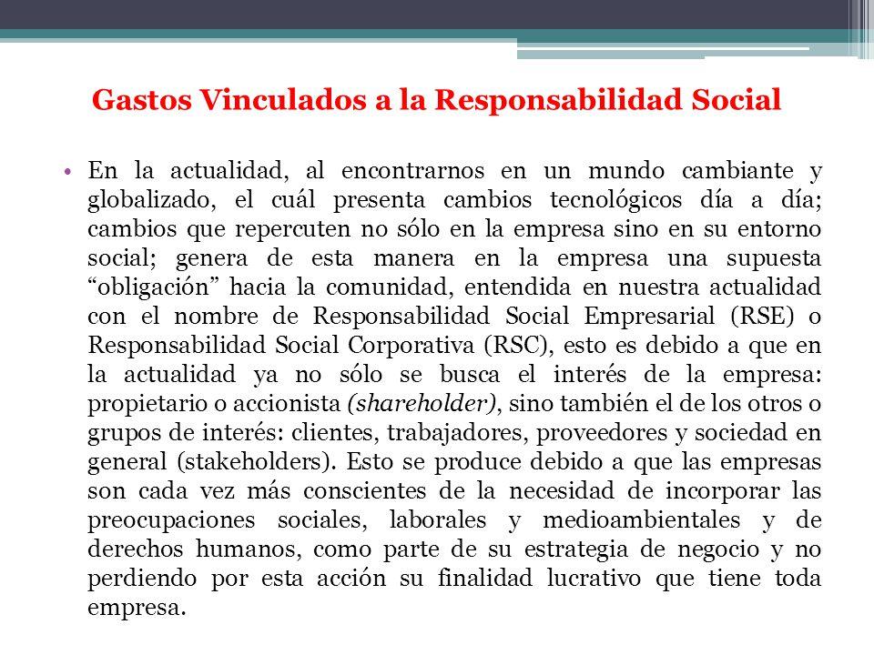 Gastos Vinculados a la Responsabilidad Social En la actualidad, al encontrarnos en un mundo cambiante y globalizado, el cuál presenta cambios tecnológ