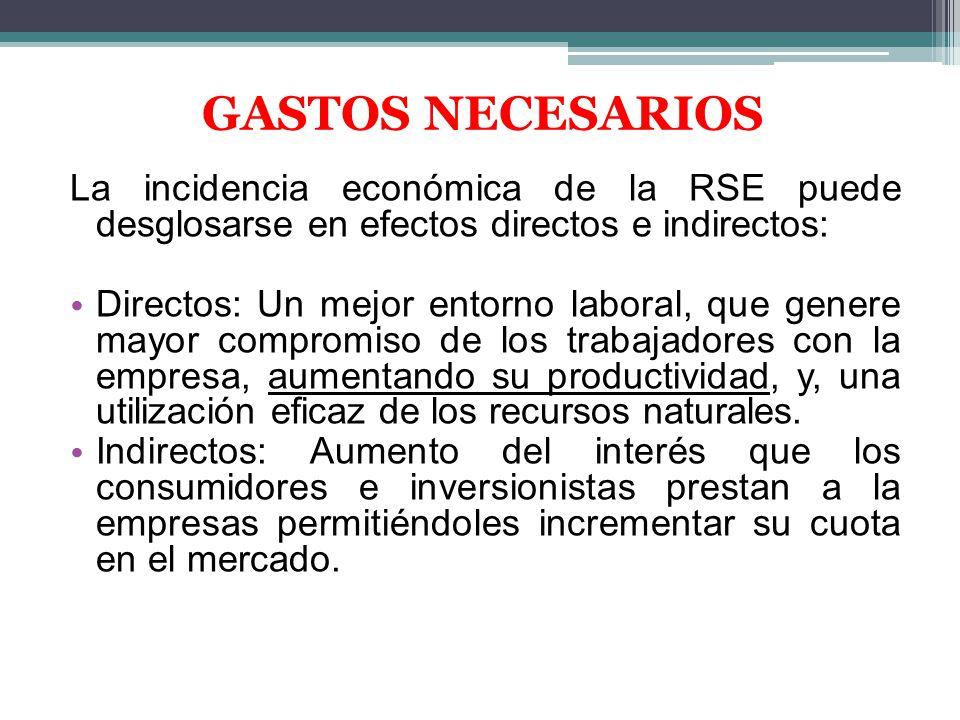 GASTOS NECESARIOS La incidencia económica de la RSE puede desglosarse en efectos directos e indirectos: Directos: Un mejor entorno laboral, que genere