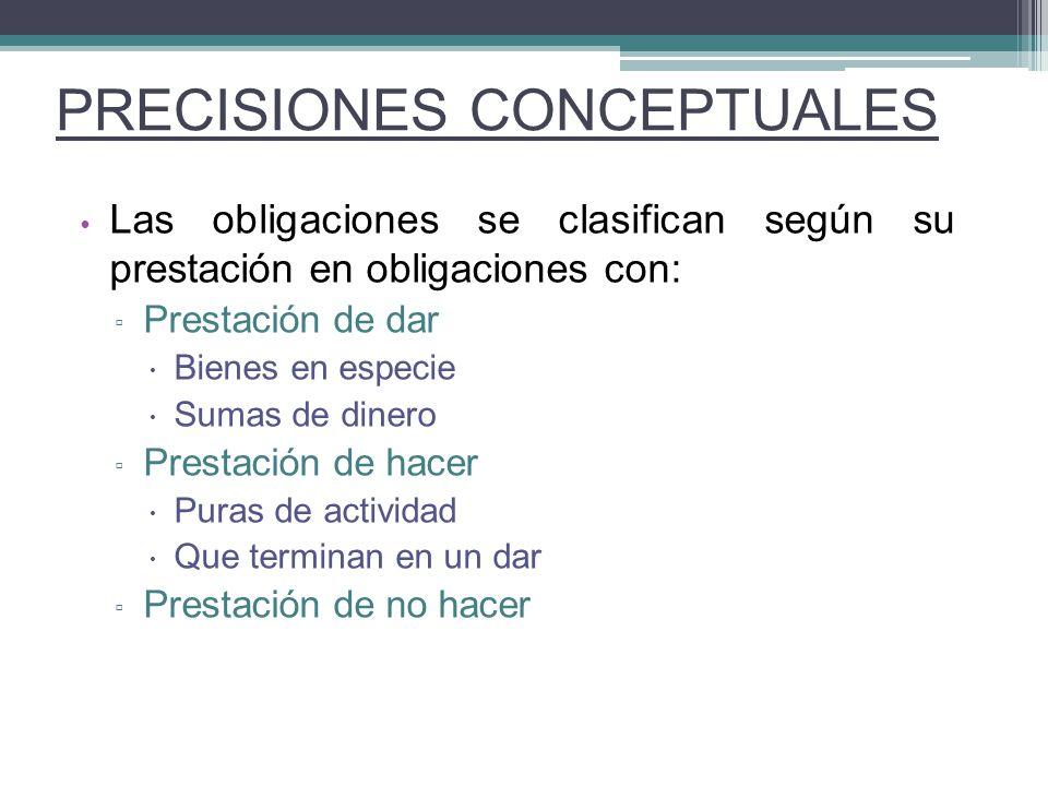 Las obligaciones se clasifican según su prestación en obligaciones con: Prestación de dar Bienes en especie Sumas de dinero Prestación de hacer Puras