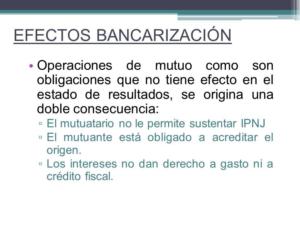 Operaciones de mutuo como son obligaciones que no tiene efecto en el estado de resultados, se origina una doble consecuencia: El mutuatario no le perm