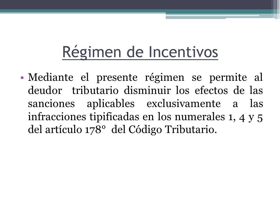 Mediante el presente régimen se permite al deudor tributario disminuir los efectos de las sanciones aplicables exclusivamente a las infracciones tipif