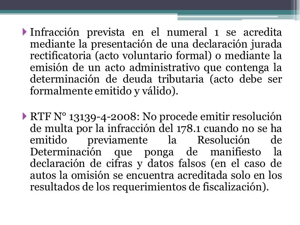 Infracción prevista en el numeral 1 se acredita mediante la presentación de una declaración jurada rectificatoria (acto voluntario formal) o mediante