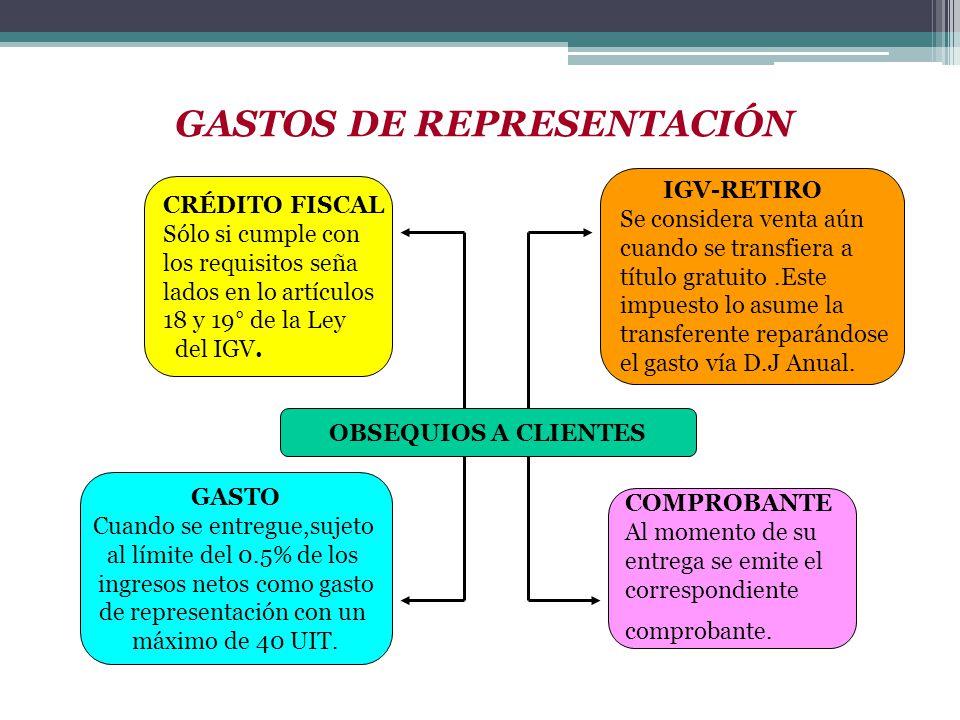 CRÉDITO FISCAL Sólo si cumple con los requisitos seña lados en lo artículos 18 y 19° de la Ley del IGV. OBSEQUIOS A CLIENTES IGV-RETIRO Se considera v