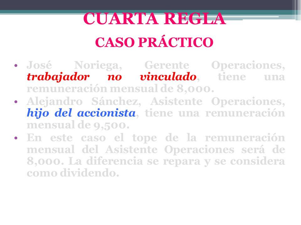 José Noriega, Gerente Operaciones, trabajador no vinculado, tiene una remuneración mensual de 8,000. Alejandro Sánchez, Asistente Operaciones, hijo de