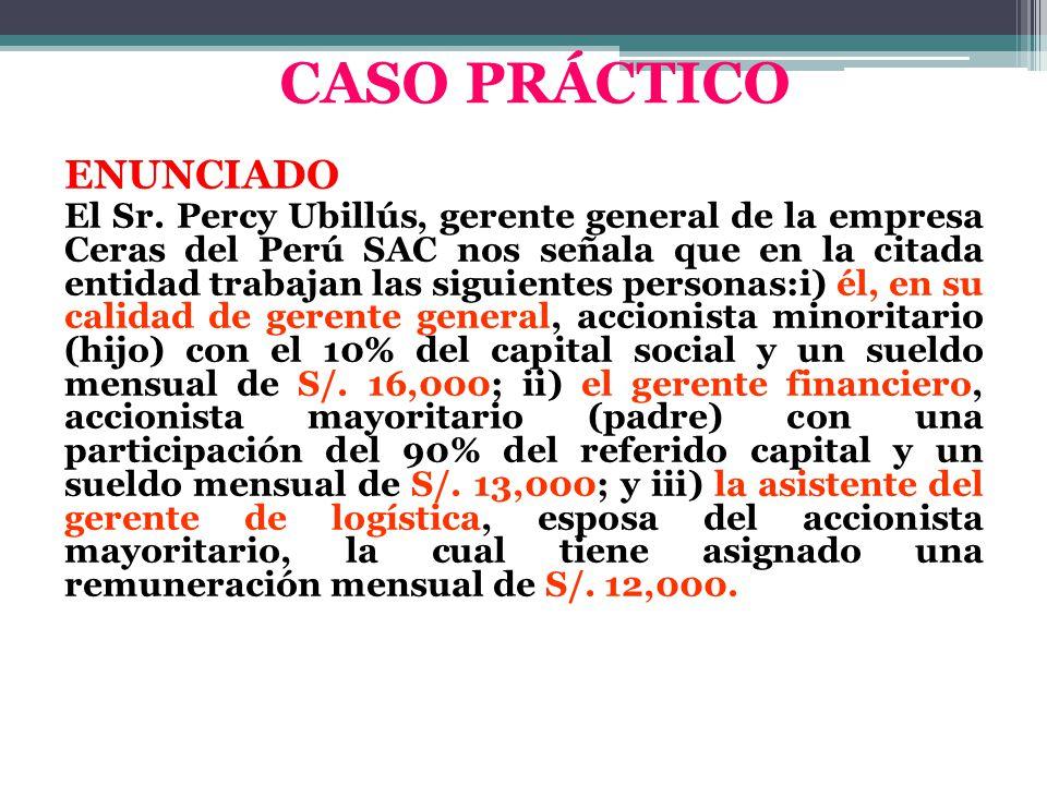 ENUNCIADO El Sr. Percy Ubillús, gerente general de la empresa Ceras del Perú SAC nos señala que en la citada entidad trabajan las siguientes personas: