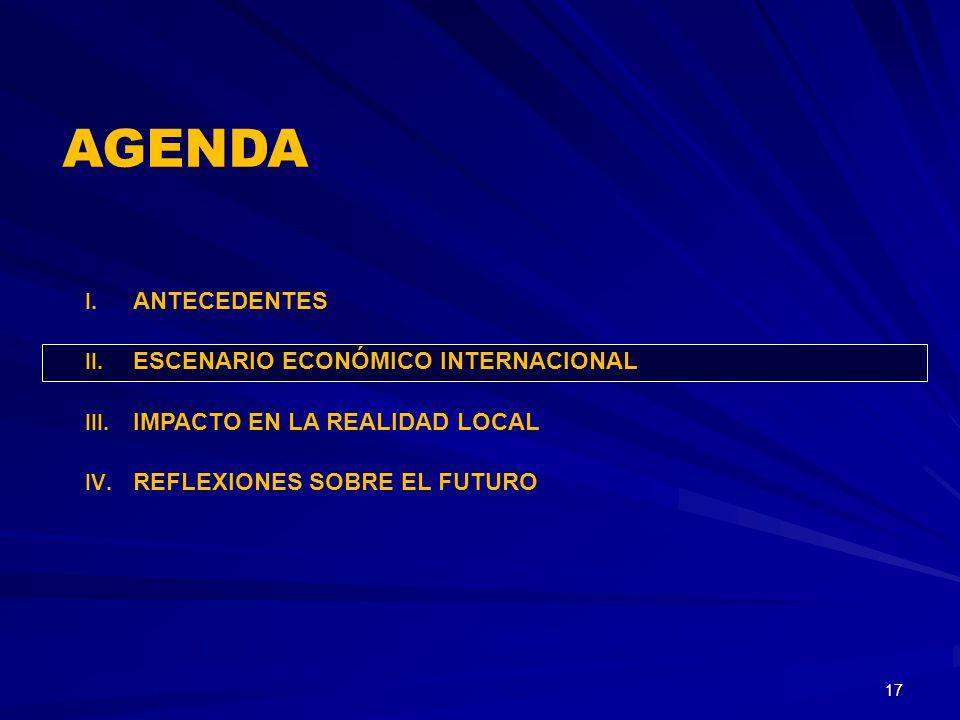 I. ANTECEDENTES II. ESCENARIO ECONÓMICO INTERNACIONAL III. IMPACTO EN LA REALIDAD LOCAL IV. REFLEXIONES SOBRE EL FUTURO 17 AGENDA