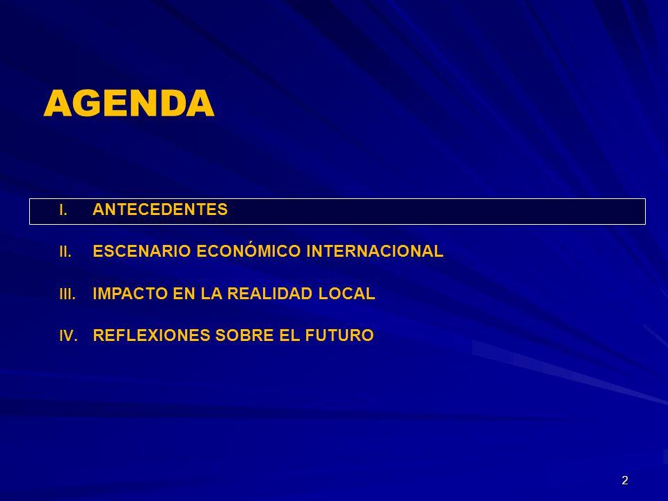 I. ANTECEDENTES II. ESCENARIO ECONÓMICO INTERNACIONAL III. IMPACTO EN LA REALIDAD LOCAL IV. REFLEXIONES SOBRE EL FUTURO 2 AGENDA