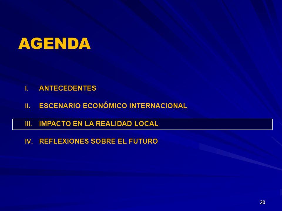I. ANTECEDENTES II. ESCENARIO ECONÓMICO INTERNACIONAL III. IMPACTO EN LA REALIDAD LOCAL IV. REFLEXIONES SOBRE EL FUTURO 20 AGENDA