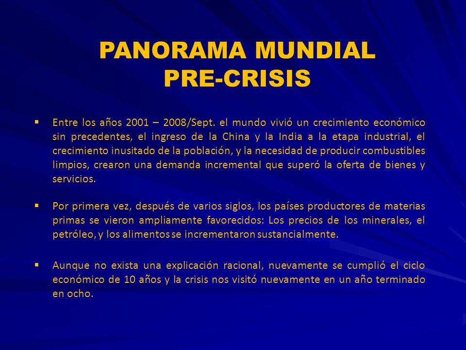 PANORAMA MUNDIAL PRE-CRISIS Entre los años 2001 – 2008/Sept. el mundo vivió un crecimiento económico sin precedentes, el ingreso de la China y la Indi