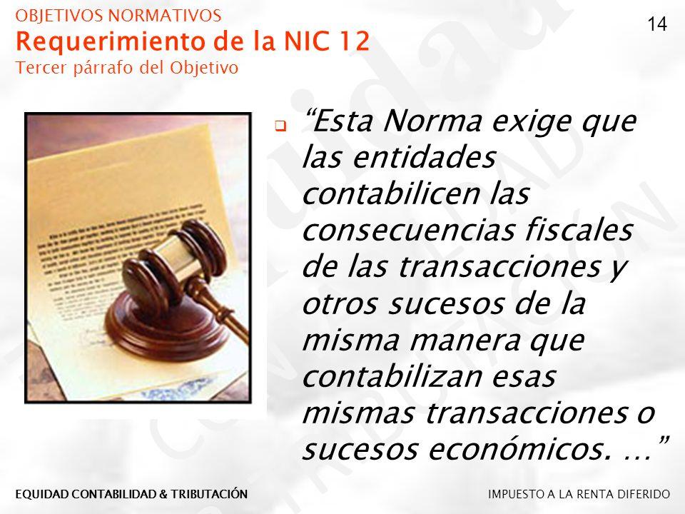 OBJETIVOS NORMATIVOS Requerimiento de la NIC 12 Tercer párrafo del Objetivo Esta Norma exige que las entidades contabilicen las consecuencias fiscales