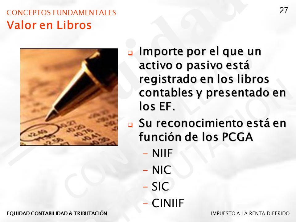 CONCEPTOS FUNDAMENTALES Valor en Libros Importe por el que un activo o pasivo está registrado en los libros contables y presentado en los EF. Importe