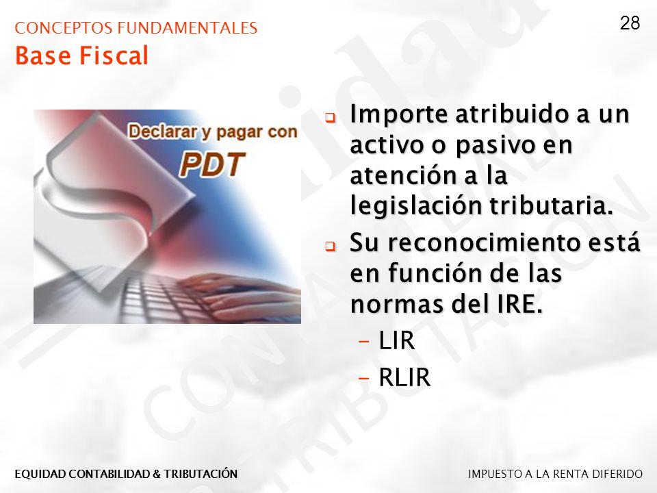 CONCEPTOS FUNDAMENTALES Base Fiscal Importe atribuido a un activo o pasivo en atención a la legislación tributaria. Importe atribuido a un activo o pa