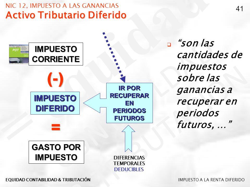 Activo Tributario Diferido NIC 12, IMPUESTO A LAS GANANCIAS Activo Tributario Diferido son las cantidades de impuestos sobre las ganancias a recuperar