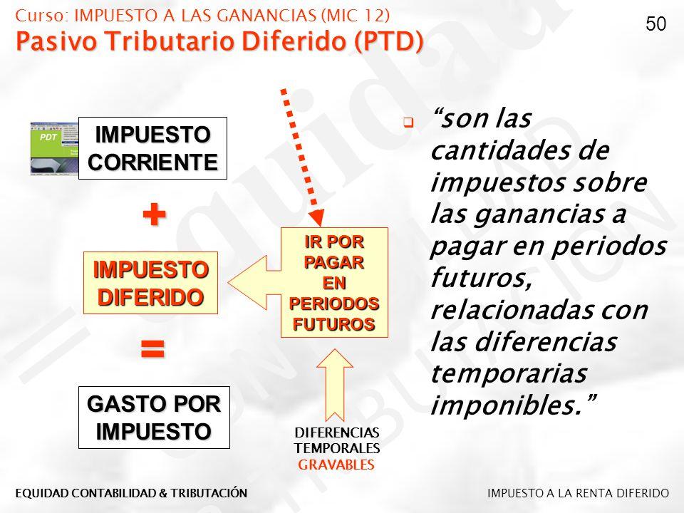 Pasivo Tributario Diferido (PTD) Curso: IMPUESTO A LAS GANANCIAS (MIC 12) Pasivo Tributario Diferido (PTD) son las cantidades de impuestos sobre las g
