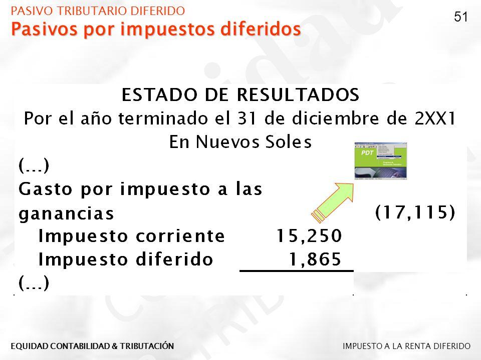 Pasivos por impuestos diferidos PASIVO TRIBUTARIO DIFERIDO Pasivos por impuestos diferidos 51 IMPUESTO A LA RENTA DIFERIDOEQUIDAD CONTABILIDAD & TRIBU