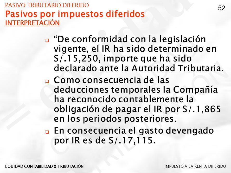 Pasivos por impuestos diferidos PASIVO TRIBUTARIO DIFERIDO Pasivos por impuestos diferidos INTERPRETACIÓN De conformidad con la legislación vigente, e