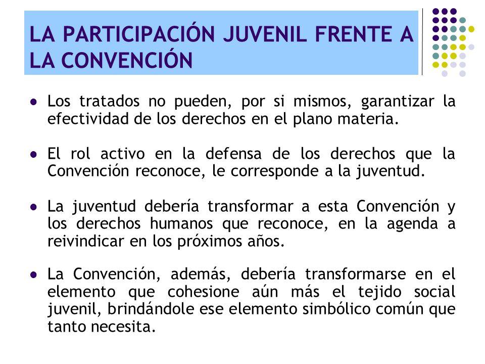 LA PARTICIPACIÓN JUVENIL FRENTE A LA CONVENCIÓN Los tratados no pueden, por si mismos, garantizar la efectividad de los derechos en el plano materia.