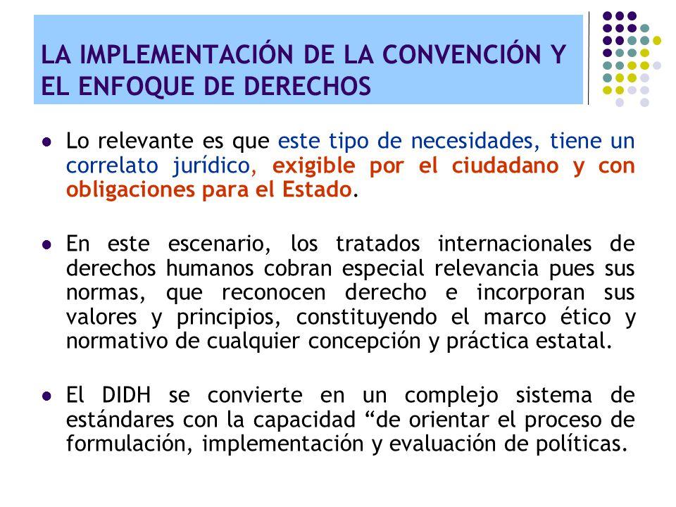 LA IMPLEMENTACIÓN DE LA CONVENCIÓN Y EL ENFOQUE DE DERECHOS Valor agregado del enfoque de derechos: Refuerza los niveles de responsabilidad: de la caridad a las obligaciones.