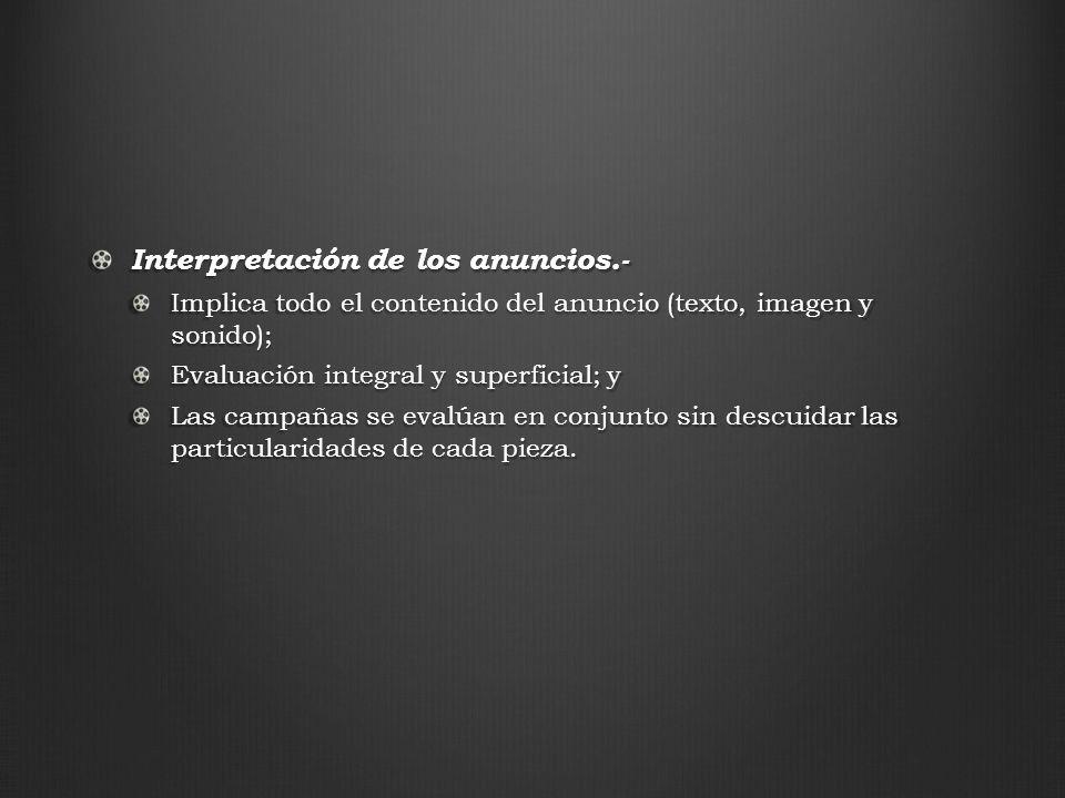 Interpretación de los anuncios.- Implica todo el contenido del anuncio (texto, imagen y sonido); Evaluación integral y superficial; y Las campañas se