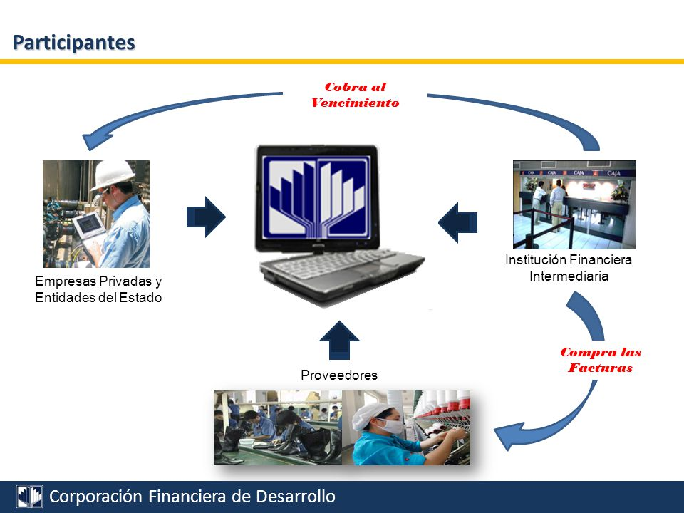Corporación Financiera de Desarrollo Participantes Proveedores Institución Financiera Intermediaria Empresas Privadas y Entidades del Estado RIESGO DE NO PAGO