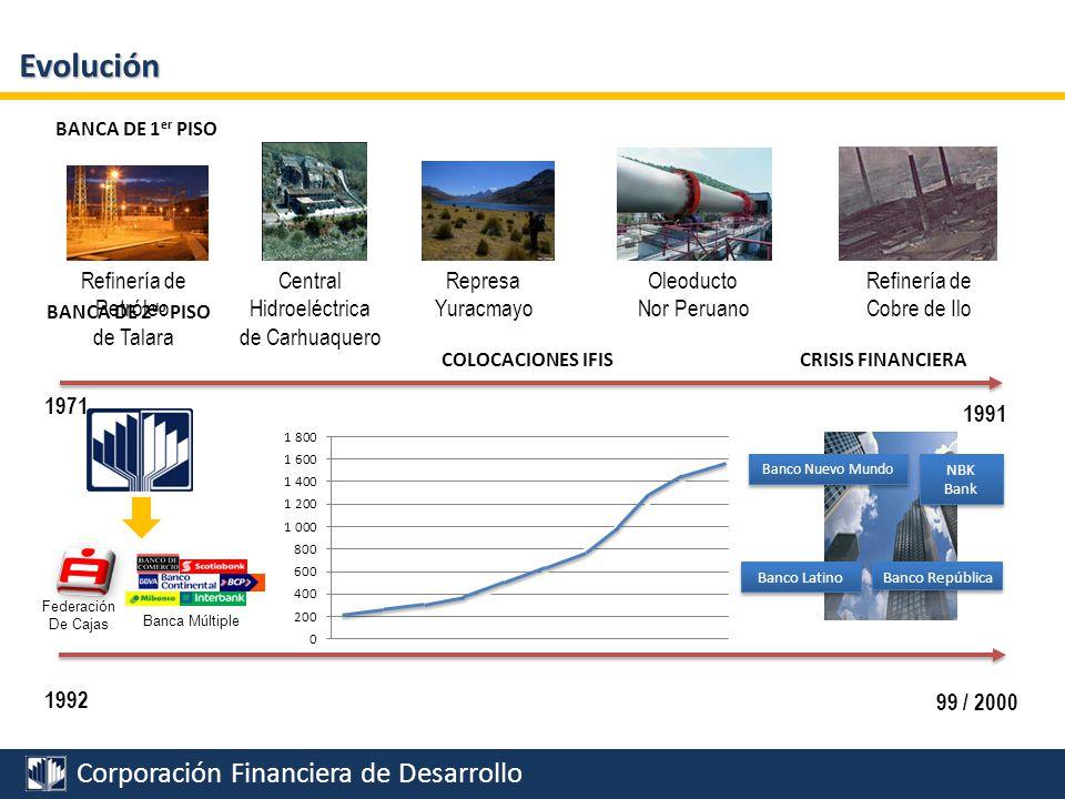 Corporación Financiera de Desarrollo Evolución 2001 2006 PFE MERCADO DE CAPITALES FIDEICOMISOS Federación De Cajas Banca Múltiple