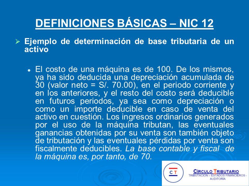 DEFINICIONES BÁSICAS – NIC 12 Ejemplo de determinación de base tributaria de un activo El costo de una máquina es de 100.