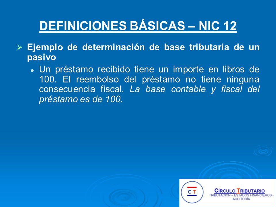 DEFINICIONES BÁSICAS – NIC 12 Ejemplo de determinación de base tributaria de un pasivo Un préstamo recibido tiene un importe en libros de 100.
