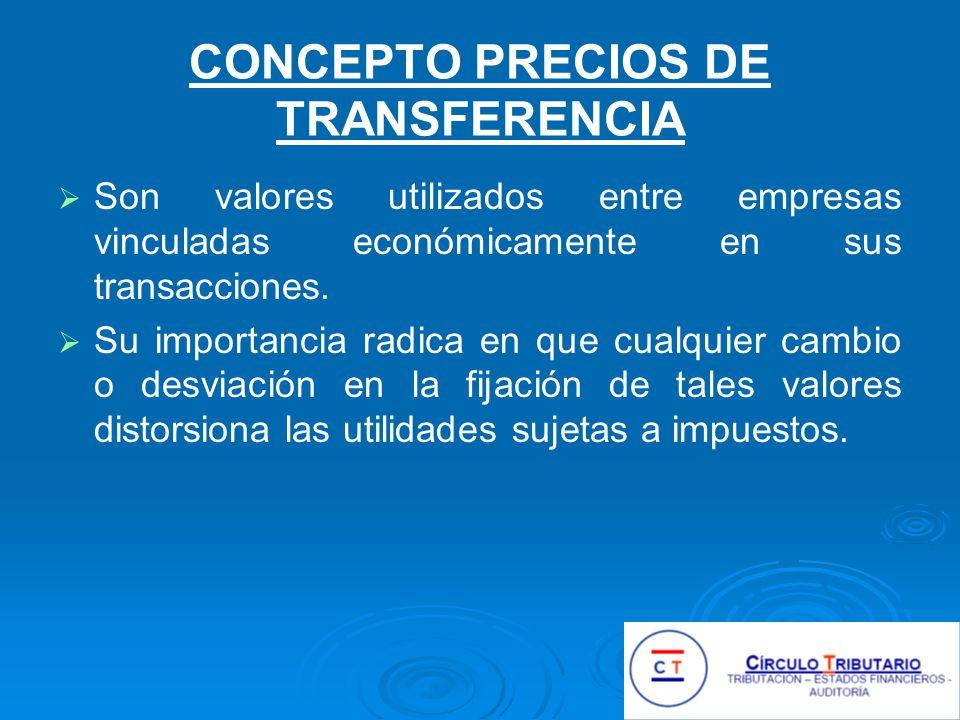CONCEPTO PRECIOS DE TRANSFERENCIA Son valores utilizados entre empresas vinculadas económicamente en sus transacciones.