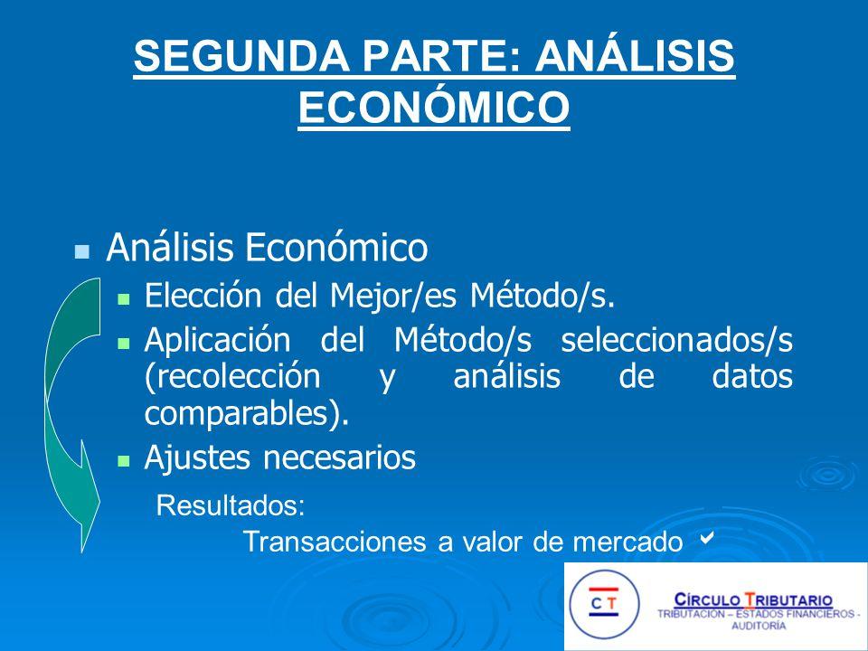 SEGUNDA PARTE: ANÁLISIS ECONÓMICO Análisis Económico Elección del Mejor/es Método/s.